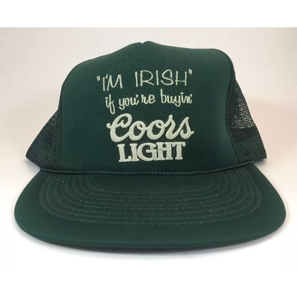6c163175e8a RARE Vintage Coors Light Beer Irish Green Hat Cap